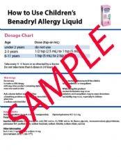Replacement Children's Benadryl Instruction Sheet