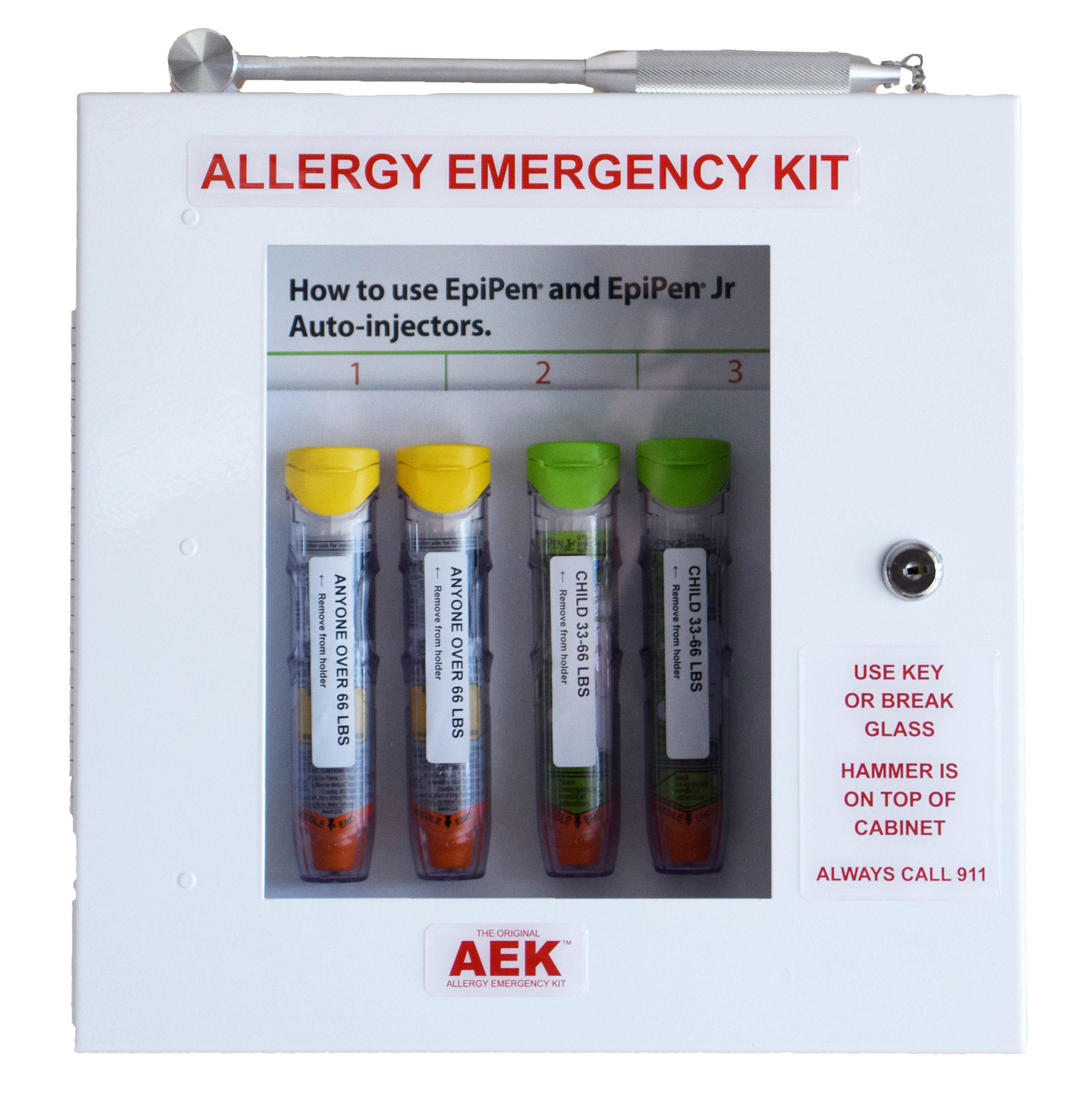 The Original Allergy Emergency Kit™ Epinephrine Cabinet WITH LOCK AND EMERGENCY ACCESS HAMMER
