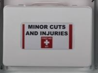 White First Aid Case with Label Sleeve and Velcro Hook Mount
