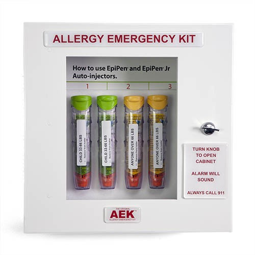 The Original Allergy Emergency Kit™ cabinet is intended to finally make Epinephrine as available as a fire extinguisher or defibrillator. It is designed to be hung in school lunch rooms and hallways as well as any public place - as close to the point of n